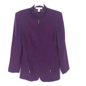 NWOT Casual Corner Womens VTG Small Purple Blazer